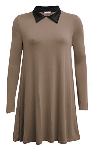 Womens Peter Pan Collar Long Sleeve A Line Skater Flared Swing Dress UK SM ML AND PLUS SIZE