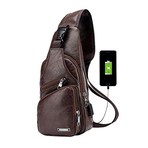 d01b7229c982 CWeep Headphone Men PU Leather Crossbody Sling Bag,Shoulder Chest Backpack  USB Charging Port/Headphone Interface Anti Theft Travel/Hiking/School (Dark  ...