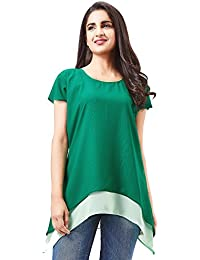Aarnaa Casual Women Tunic Short Sleeves Round Neck Georgette Green Kurti