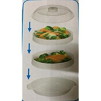 2 Ebenen Mikrowelle Dampfgarer Kochen & Dampf Gemüse Fisch