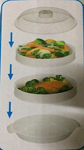 2 Ebenen Mikrowelle Dampfgarer Kochen & Dampf Gemüse Fisch Reis (Mikrowellen-dampfgarer Für Reis)