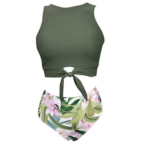 Produp Frauen Bikini Set Zweiteiler Badeanzug mit Crop-Top und floraler Unterseite