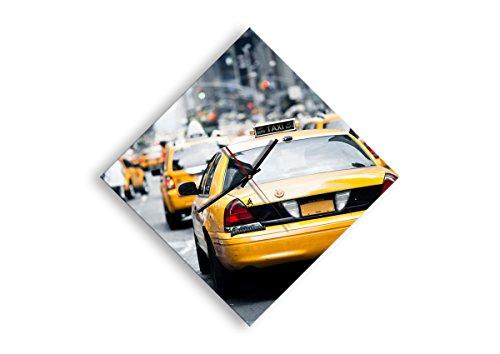 Wanduhr - Rhombus - Glasuhr - Breite: 57cm, Höhe: 57cm - Bildnummer 2663 - Schleichendes Uhrwerk - lautlos - zum Aufhängen bereit - Kunstdruck - C1AD40x40-2663