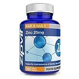 Zinc 25mg | 360 Comprimés | Cheveux, Peau et Ongles | Renforce le Système Immunitaire, la Santé des Os et...