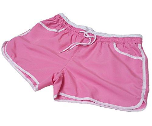 A-Express Damen Mädchen Sommer Running Training Gym Sport Fitness Hot Hose Beach Shorts Gr. 50, rose