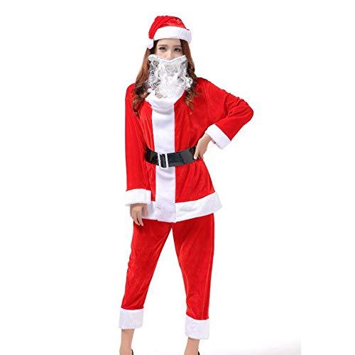 HUAN Vestito da Babbo Natale per Adulti Regal Deluxe Professionale da Babbo Natale (Colore : Rosso, Dimensione : One Size)
