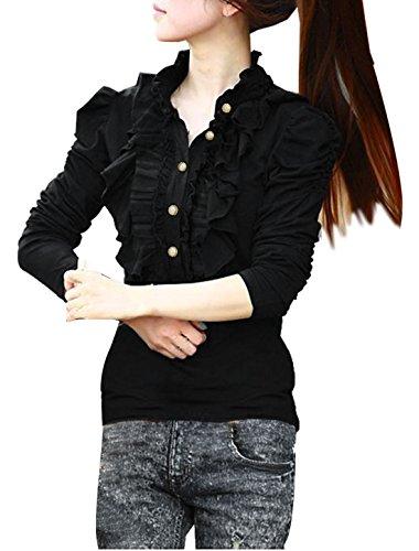 allegra-k-women-ruffle-neck-half-placket-stand-collar-puff-sleeve-shirt-s-black