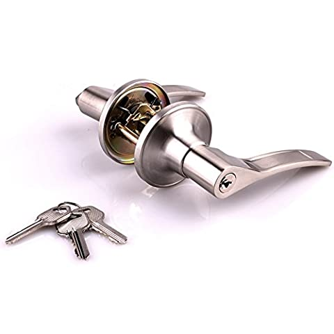 Glantop Right Side Opened Brushed Stainless Steel Entracne Passage Door Handle Lock Knobs Lockset (Entrance)