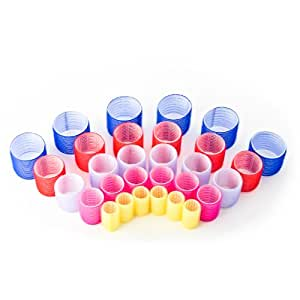 Multi Set of 30 Velcro Hair Curlers - 5 Sizes, 5 Colours!
