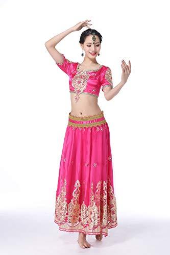 SMACO Indian Bollywood Lady Bauchtanz Kleidung Frau Set Kleider Bauchtanz Kleid Anzug Rot Indian Bollywood Tänzer Tanz Kostüme Frauen Erwachsene (3-Teiliges Set),Pink,S (Classic Zigeuner Kostüm)