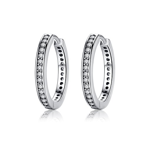 bamoer-925-sterling-silver-simple-one-hoop-earrings-cz-stone-antique-silver-color