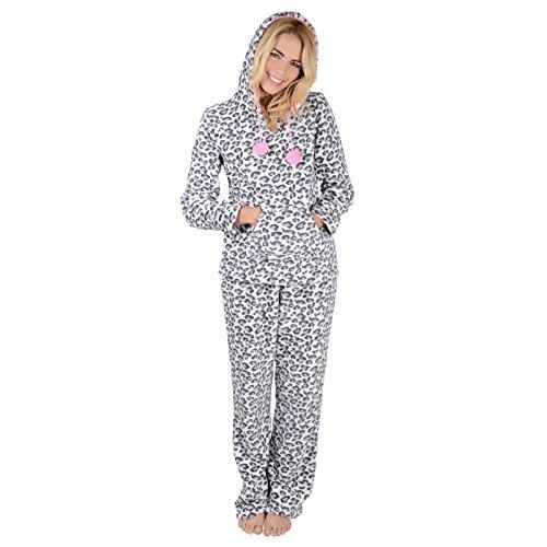 Damen Leopard Fleece Pyjama PJ Oberteil & Hose Nachtwäsche Set - M (Fleece Leopard Hose)