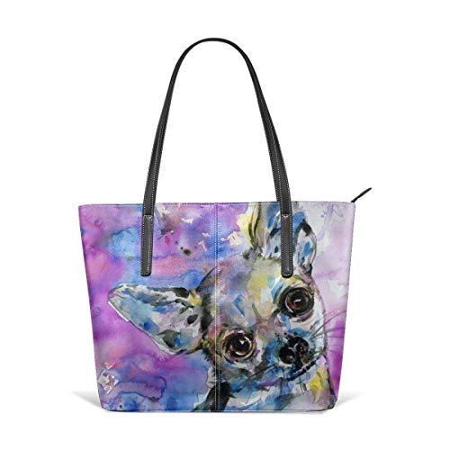 xcvgcxcbaoabo Mode Handtaschen Einkaufstasche Top Griff Umhängetaschen Chihuahua Leather Tote Large Purse Shoulder Bag Portable Storage HandBags Convenient Shoppers Tote