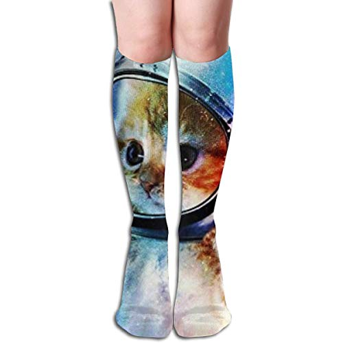 jiilwkie Astronaut Cat In Space Design Elastic Blend Long Socks Compression Knee High Socks (65cm) for ()