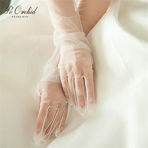 GBSTA Hochzeitshandschuhe Elfenbein Länge Lange Brauthandschuhe Transparenter Tüll Finger Formelle Handschuhe Blau Rot Schwarz Rosa Hochzeitshandschuhe Für Frauen,Rosa -