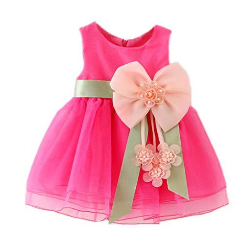 Dintang Sleeveless Bogen Prinzessin Kleid Mädchen Kind Prinzessin Kleid Kind Geburtstagsparty (Engel Bögen Tanz Kostüme)