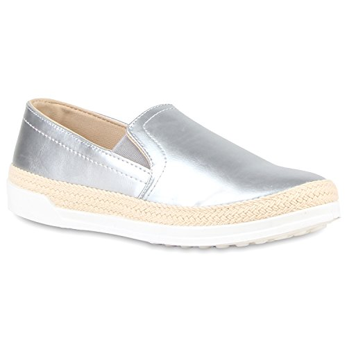 Damen Bast Slip-ons Slipper Sneakers Silber