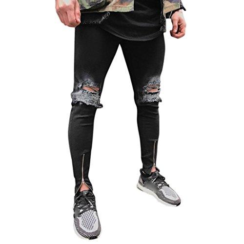 Pantalones vaqueros largo Recto hombres,Sonnena Hombres Denim moda Pantalones Slim Fit motocicleta Estilo Urbano…