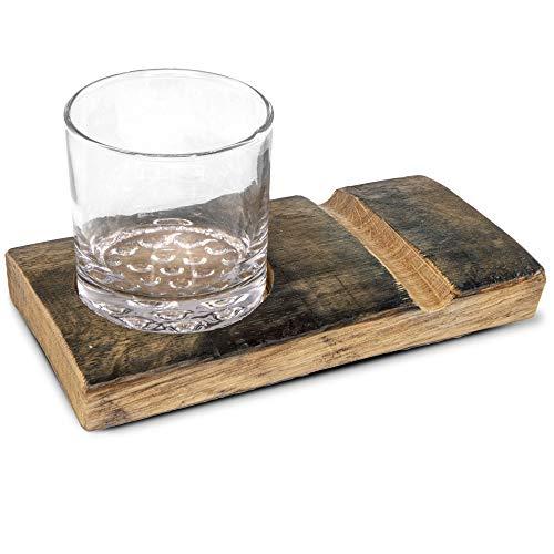 Handgefertigtes rustikales Holz-Whiskeyglas und Zigarrenhalter, Geschenk-Set mit geschnitztem Holzbrett und Highball-Glas -