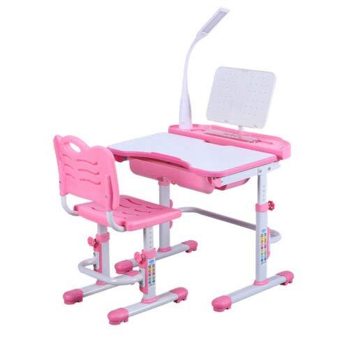 BTdahong Kinderschreibtisch und Stuhl LED Intelligente Gesundheit Augenlampe 220V, Desktop 38 * 70cm Höhenverstellbar Neigbar (Pink)