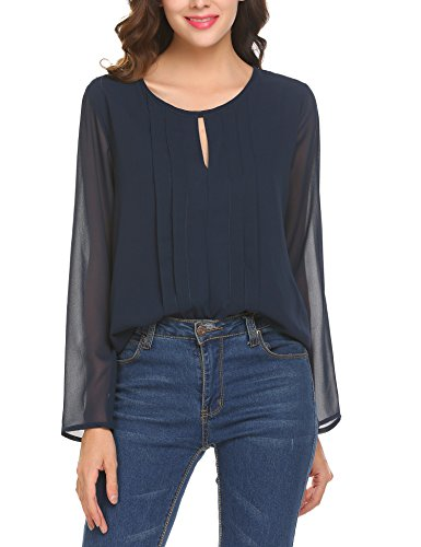 Parabler Damen Bluse Chiffon T-Shirt Sommer Loose Oberteil Shirt Falten Tunika (XXL, Blau)