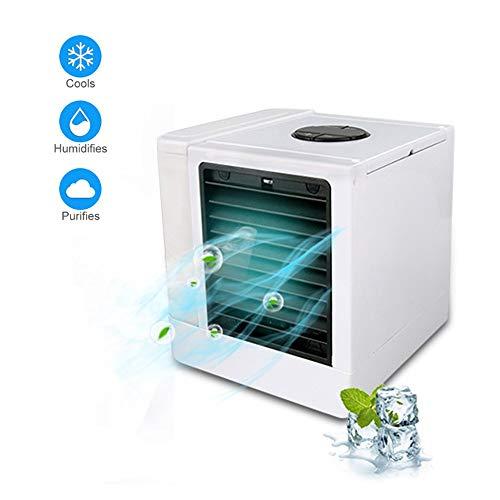 Fr Desktop (Ice-Beauty-ukzy Mini Luftkühler Mit Wasser USB Mobile Klimaanlage Luftbefeuchter Und Luftreiniger Cool Air Ventilator 3 In 1tragbare 7 Farben Led Licht FR Home Office Draussen Desktop)