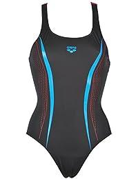 Arena Mujer Sport Sharp Bañador, mujer, Damen Sport Badeanzug Sharp, black-Red-Turquoise, 38