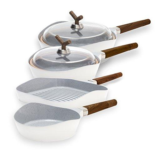 Set de sartenes de alta gama Premium White Stone de Cecotec. 3 sartenes de diámetro 28cm, 24cm, 20cm y parrilla de 28x28cm. Revestimiento Ceramium. Aptas para todas las cocinas. (mangos con efecto madera)