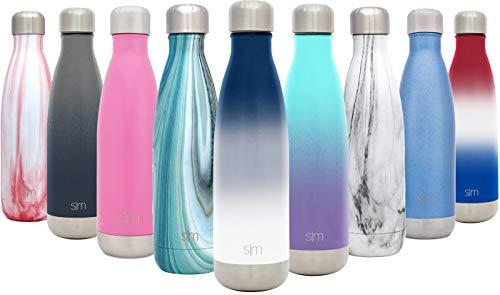 simple modern 750 ml (25oz) wave bottiglia acqua in acciaio inox - borraccia termica acqua isolamento sottovuoto 18/8 inossidabile - alluminio borracce termiche swell due toni: nautico