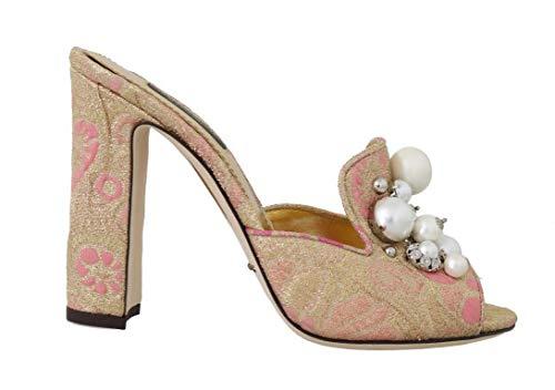 Dolce & Gabbana - Damen Sandalen - Gold Brocade Crystal Pearl Slides Shoes - EU 39 Brocade Pearl