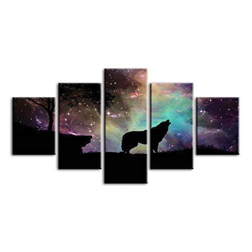 GKJRKGVF Drucke Gemälde Wandkunstwerk Modulare 5 Panel Sirius Sky Leinwand Poster Bild Moderne Dekoration Für -
