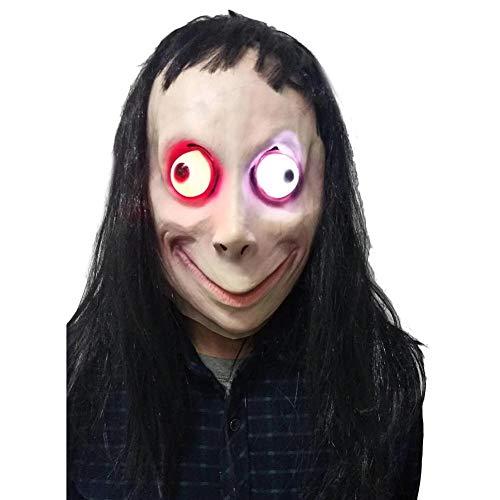 Perückenmaske, Momo Glowing Mask, Halloween Maske LED für Halloween Fasching Karneval Party Kostüm Cosplay Dekoration