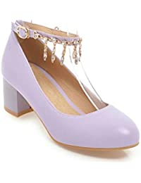 QPYC Women Rhinestone Round Head Shallow Mouth Mid Heel Single Shoes Large Children Rough Heel Buckle Large Size Code 31-47 Nude Shoes