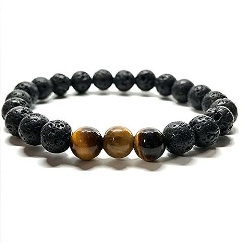 GOOD.designs Natural Onyx Stone Bead Wrist Bracelet - Tiger Eyes