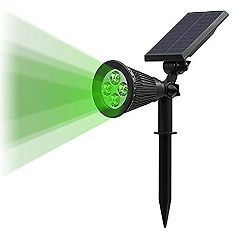 T-SUN LED Solar Spotlights ,4 LEDs Waterproof Solar Powered Security Garden Lights,Auto-on At Night/Auto-off By Day, 180 Angle Adjustable for Patio,Tree,Deck,Outdoor (Green)