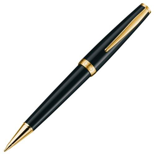 CLEO Classic schwarz +++ Drehkugelschreiber, Mine: BLAU +++ vergoldete Zierringe und Clip +++ HAND...