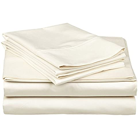 Superior 100% Premium Long-Staple Combed Cotton 300 Thread Count Double 4-Piece Sheet Set, Deep Pocket, Single Ply, Solid,