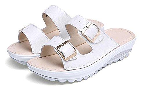 Sommer-beiläufige flache Hausschuhe atmungsaktiv und komfortabel faule Schuhe schlüpfen Sandalen erhöht White
