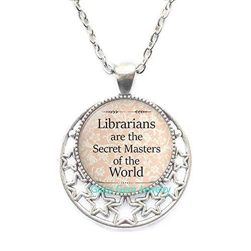 Bibliothekarians are The Secret Masters of The World Halskette, Bibliothekarischer Anhänger, Bibliotheksgeschenk, Bibliotheksschmuck, Q0192