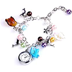 Yesurprise Fashion Dolphin Beads Ladies Girl Women BANGLE BRACELET Quartz Watch