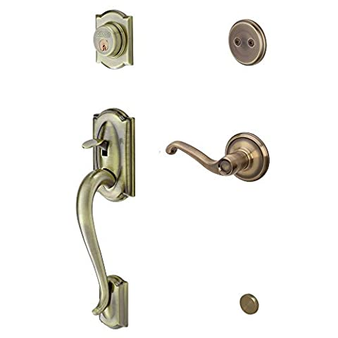 Schlage F93 CAM 609 FLA RH Camelot Right-Hand Dummy Handle Set with Flair Interior Lever, Antique Brass by Schlage Lock Company