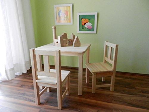 Set de muebles infantiles (1 mesa y 2 sillas), madera maciza sin tratar, incluye juguete de piezas de madera