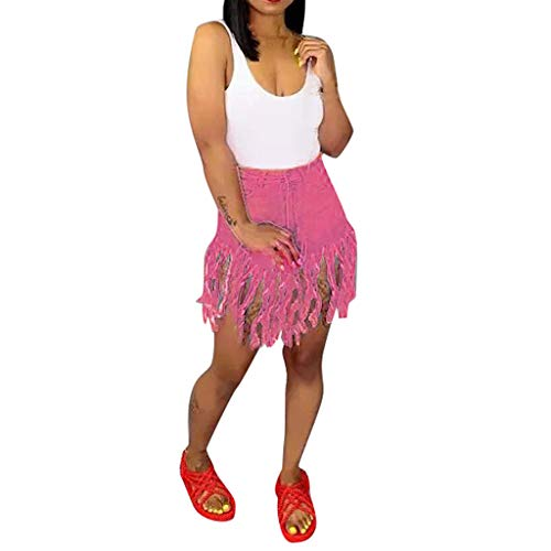 NPRADLA Frauen Röcke Sommer Kurze Jeans Retro Hohe Taille Shorts Reine Farbe Denim Taschen Frau Quaste Hot Pants -