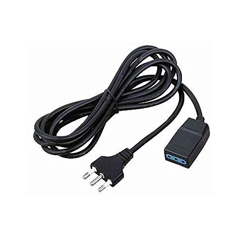 CFG Rallonge électrique linéaire 5mt Câble Noir 3x 1mmq prise italienne fiche 16A 2P + T standard By-pass courant 2500W