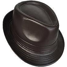 dcea82270c6 COMVIP Homme Chapeau en Cuir Vintage Jazz Fedora Trilby Western Vogue