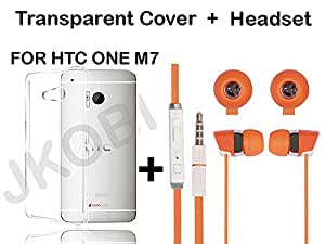 Value Combo Of Soft TRANSPARENT Clear TPU Back Case Cover And In Ear Bud Earphones Mini Size Headset For HTC ONE M7 With 3.5mm Jack-ORANGE