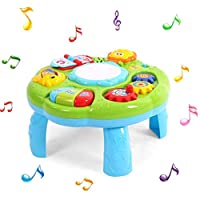 Wiivilik Musical Learning Table Toy Baby Play Table Learning Toy with Lights Music Activity Center Game Baby Birthday Gift Musical Learning Table Toy