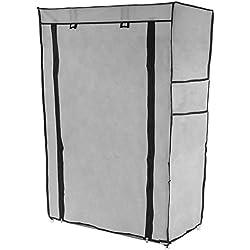PrimeMatik - Armario ropero y zapatero de tela desmontable 60 x 30 x 93 cm gris con puerta enrollable