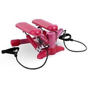 Electronic-Star - Lady Swing stepper fitness - Mini Step rotatif latéral (cordes élastiques, ordinateur de bord, 100kg) rose