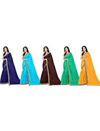 Florence Art Silk with Blouse Piece Saree (Pack of 5) (COMBO5-FL-12436_35_37_34_38_Multi_Os)